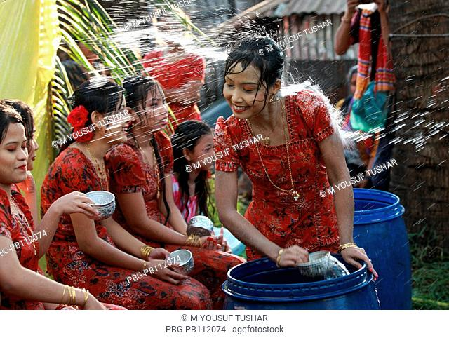 Ethnic Rakhain community celebrates water festival It is a part of their New Year celebration Young boys and girls throw water to each other to express their...