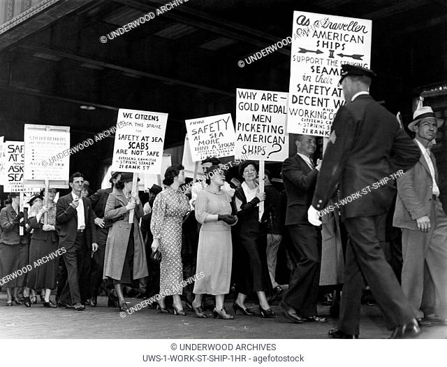 New York, New York: 1936 Workers and citizen supporters on the picket line in front of the Grace Line Pier during the seamen's waterfront strike