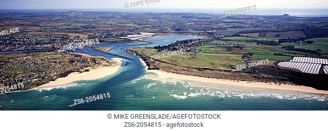 Aerial of Hayle Estuary and St Ives Bay, Cornwall, UK
