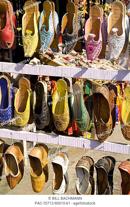 India, Rajasthan, Jaipur, shoes for sale for shopping in downtown center of the Pink City