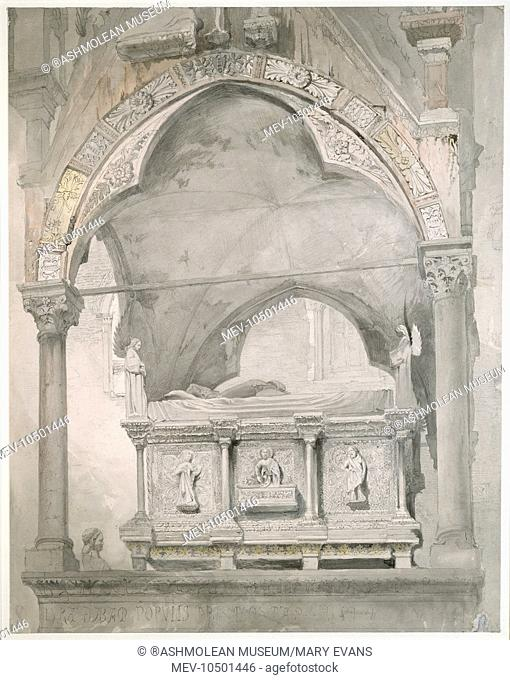 Study for the Detail of the Sarcophagus and Canopy of the Tomb of Mastino II della Scala, Verona. John Ruskin