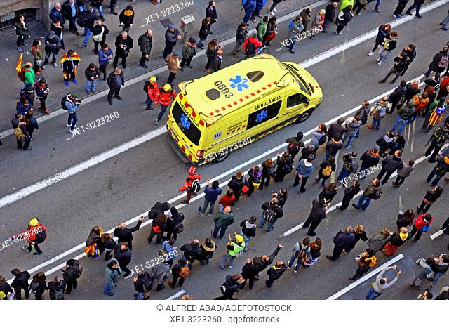 Ambulance in a demonstration in Via Laietana, Barcelona, Catalonia, Spain