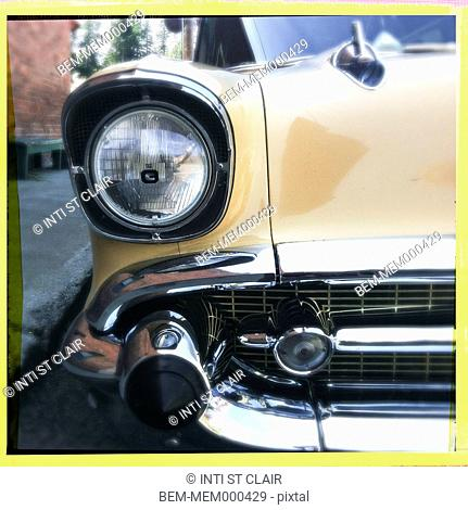 Close up of headlight of vintage car