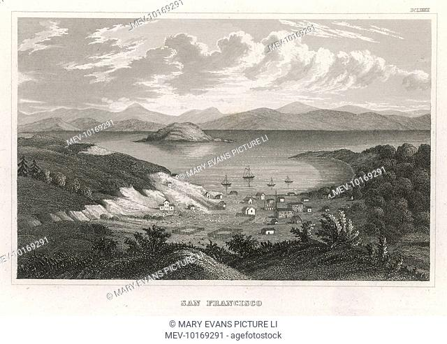 Compare this 1848 view with our view from 1850, and you'll see the enormous expansion of the town during the Gold Rush of 1849 !