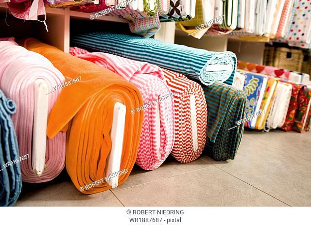 Rolls Of Fabric, Munich, Bavaria, Germany, Europe