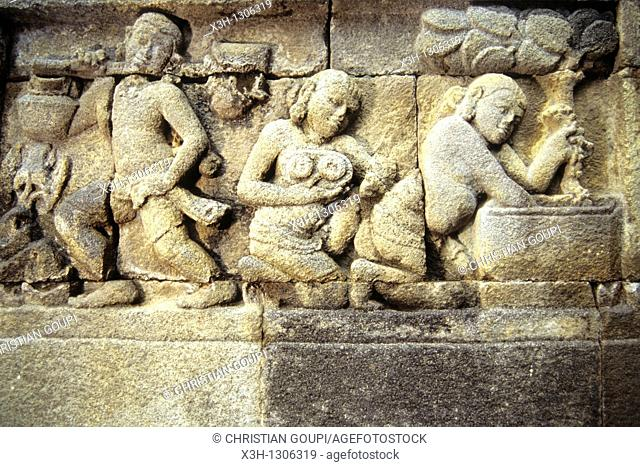 bas-relief, Borobodur Temple, Java island, Greater Sunda Islands, Republic of Indonesia, Southeast Asia and Oceania