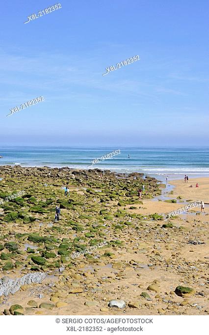 Zarauz beach low tide, Basque Country, Spain