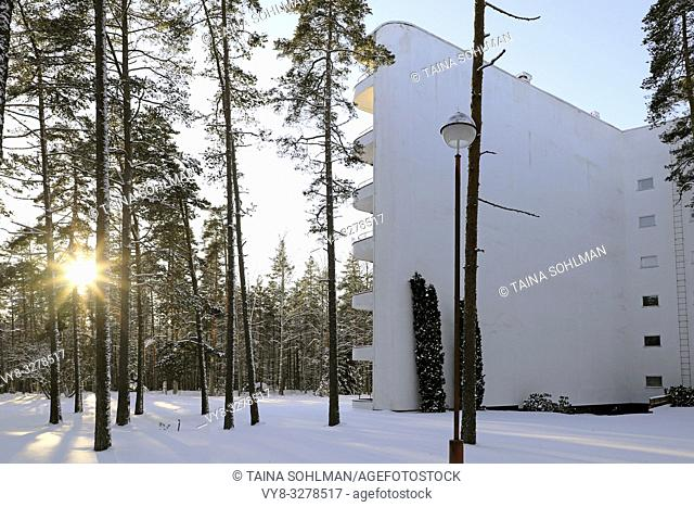 Paimio Sanatorium, designed by Finnish architect Alvar Aalto and completed 1933, is situated in pine forest area in Paimio, Finland. January 20, 2019