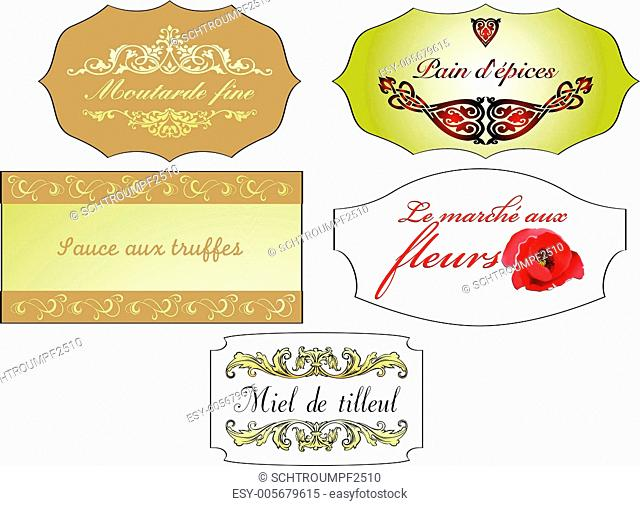 set of ancient french vintage labels, isolated on white