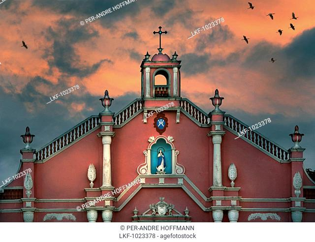 Church in colonial style at sunset, Villa Escudero, Manila, Philippines, Asia