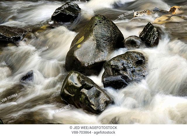 Rock and water formation downstream of Summerhill Force, near the Bowlees Picnic Area, Teesdale, England