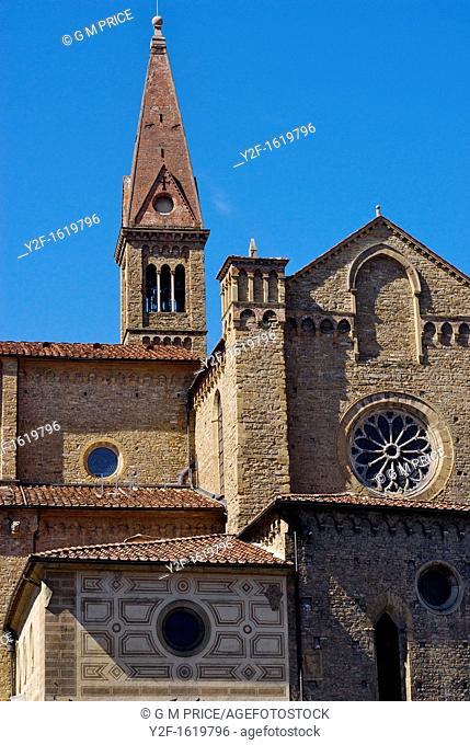 side view of Santa Maria Novella cathedral, Florence, Italy