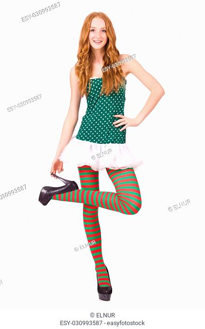 Woman in saint patrick clothes