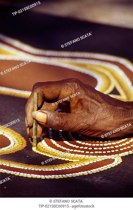 Australia, hand of aboriginal artist