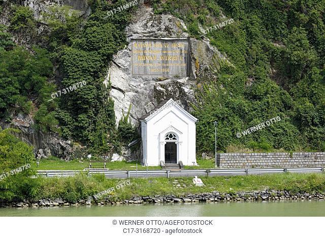 St. Nikola an der Donau, Austria, Upper Austria, District Perg, Saint Nikola an der Donau, Muehlviertel, Strudengau, memorial stone and commemorative plaque...