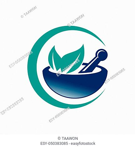 pharmacy medical logo, natural mortar and pestle logotype, medicine herbal illustration symbol icon vector design
