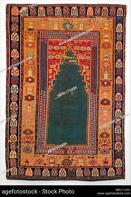 Carpet. Date: dated A.H. 1188/ A.D. 1774; Geography: Attributed to Turkey; Medium: Cotton (warp and weft), wool (weft), silk (weft)