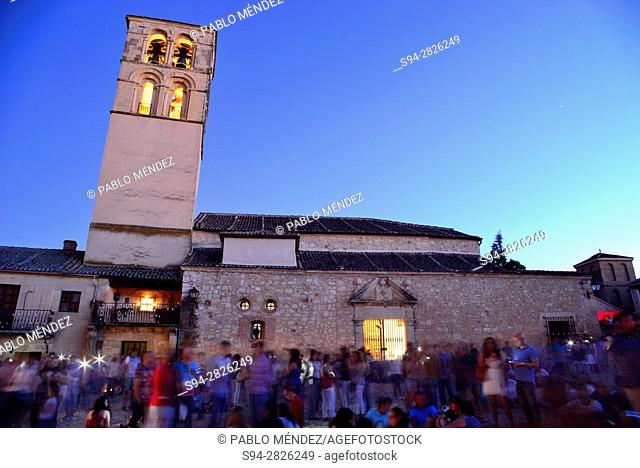Main square and San Juan Bautista church. Town Hall. Candles night party in Pedraza, Segovia, Spain