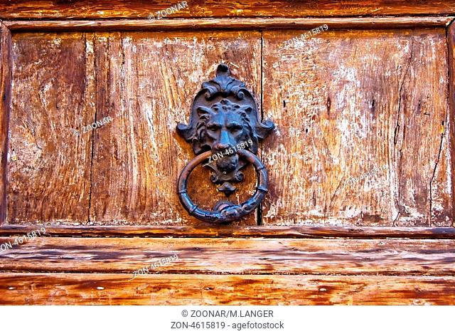 Detail-of-an-old-wooden-church-door-with-iron-knocker-in-the-form-of-a-lion-head-in-Palermo