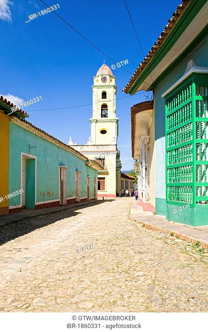 Convento de San Francisco de Asis monastery, Museo Nacional de la Lucha Contra Bandidos, bell tower and a typical street, Trinidad, Unesco World Heritage Site