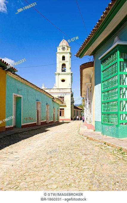 Convento de San Francisco de Asis monastery, Museo Nacional de la Lucha Contra Bandidos, bell tower and a typical street, Trinidad, Unesco World Heritage Site