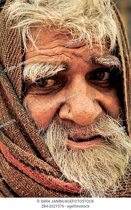 Man on the Gahts of Ganges river, Varanasi, Benares, Uttar Pradesh, India, Asia
