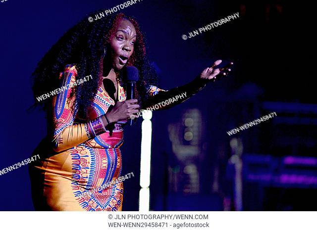 "Jill Scott performs live in concert at Fillmore Miami Beach Featuring: Tamika ""Georgia ME"" Harper Where: Miami Beach, Florida"