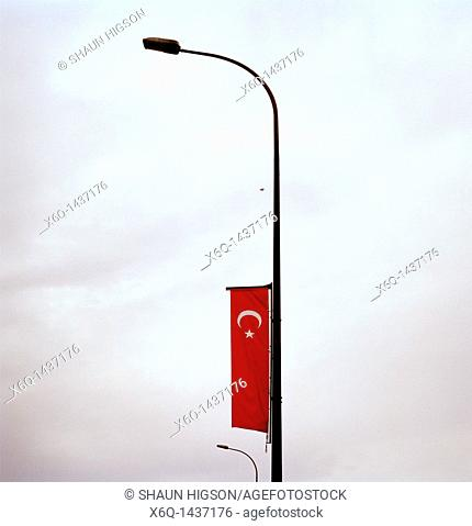 The Turkish flag in Istanbul in Turkey in the Middle East