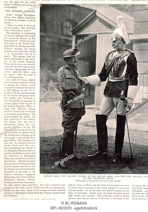 Two soldiers, 'Captain Ames, the tallest officer in the British army, and the Hon. Maurice G. of the Rhodesian Horse'. A photograph at Chelsea Barracks, by W