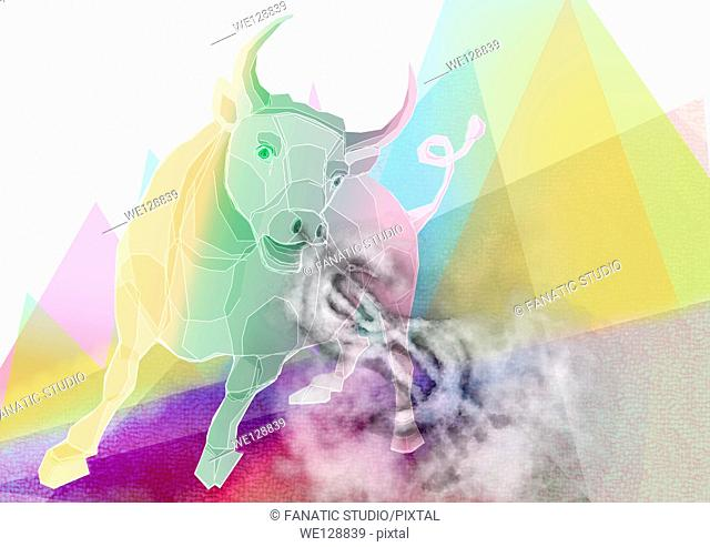 Illustration of bull with smoky dollar sign