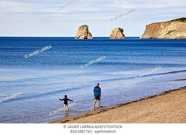 The Twin Rock, Beach, Hendaye, Aquitaine, Pyrenees Atlantiques, France