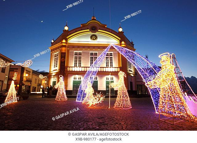 The theater building and some Christmas decorations in the city of Ribeira Grande  Azores islands, Portugal