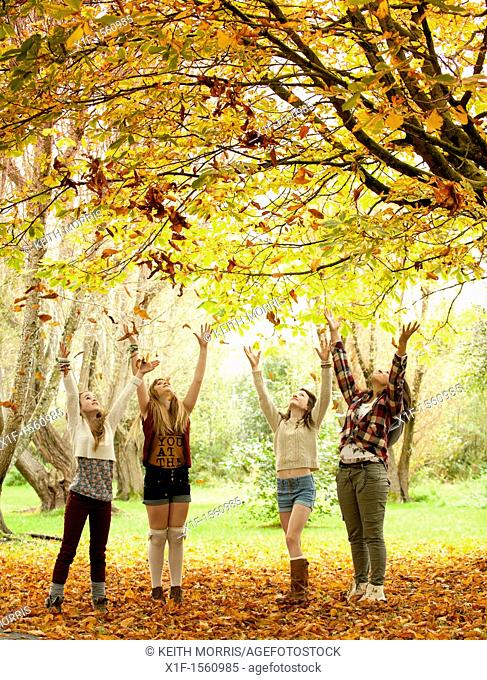 A group of 13 year old teenage girls, throwing leaves into the air, autumn morning, UK