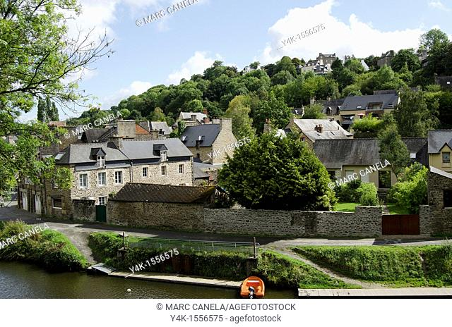 Europe, France,Bretagne Brittany region,Dinan Village, fluvial harbour