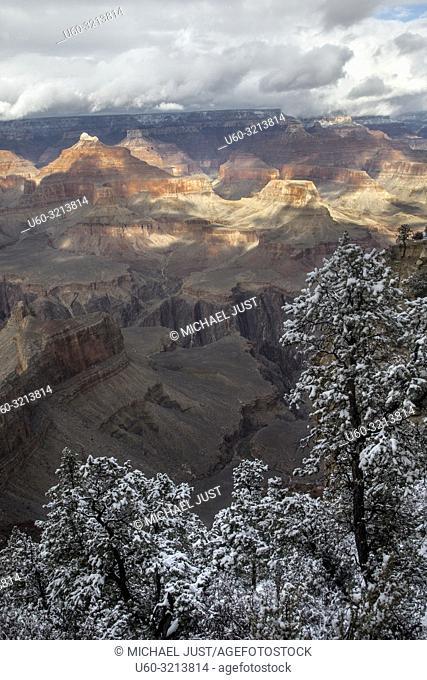 Rain and Snow showers move across the Grand Canyon at Grand Canyon National Park, Arizona