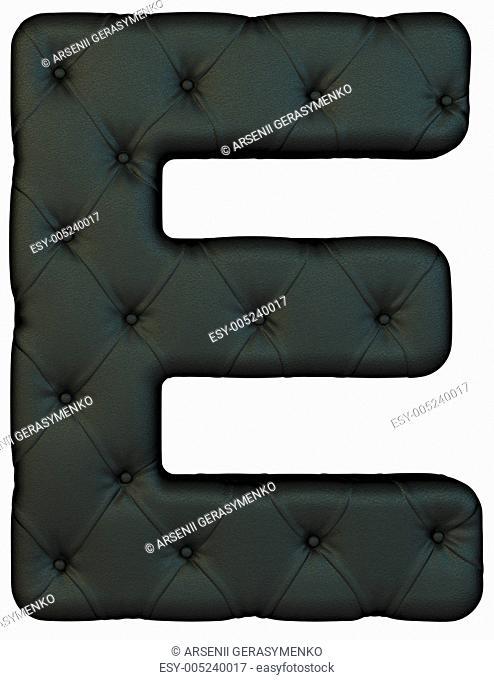 Luxury black leather font E letter