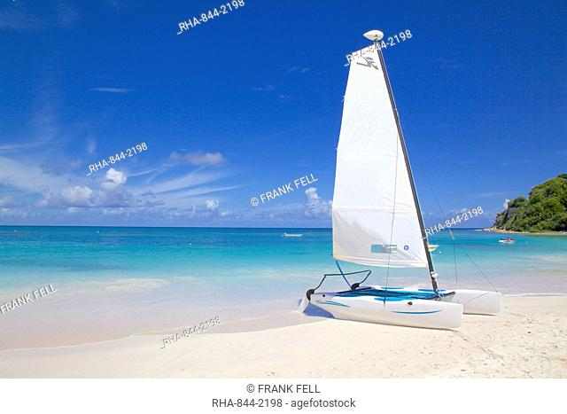 Beach and hobie cat, Long Bay, Antigua, Leeward Islands, West Indies, Caribbean, Central America