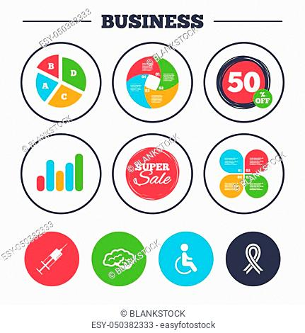 Business pie chart. Growth graph. Medicine icons. Syringe, disabled, brain and ribbon signs. Breast cancer awareness symbol. Handicapped invalid