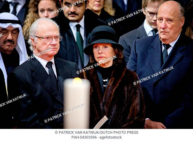 King Carl Gustaf (L), Queen Silvia of Sweden and King Harald of Norway attend the funeral of Belgian Queen Fabiola at the Cathedral of St