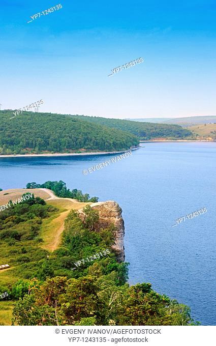 Beautiful scenery of Volga river in Russian National park 'Samara Luka'  Near the Volga hydroelectric station and dam