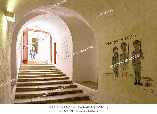 Military ainting in a Tunnel, Fort of Graca, Garrison Border Town of Elvas and its Fortifications, Portalegre District, Alentejo Region, Portugal, Europe