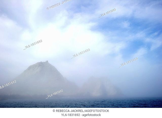 The Devil's Teeth Farallon Islands rising from a thick marine layer