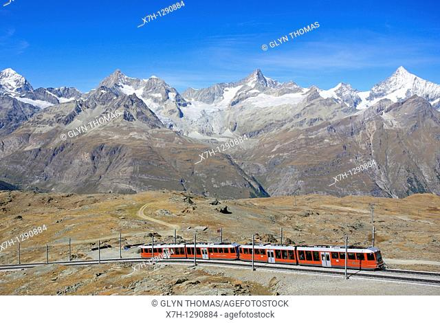 Gornergratbahn with mountains behind, Switzerland