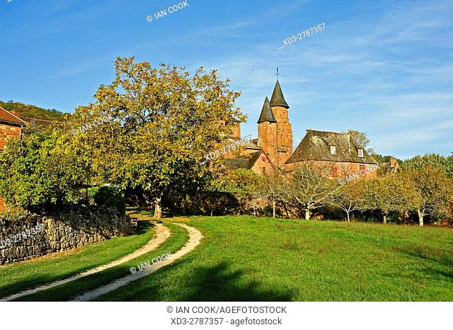 double track driveway and Eglise Saint-Pierre, Collonges-la-Rouge, Correze Department, Limosin, France