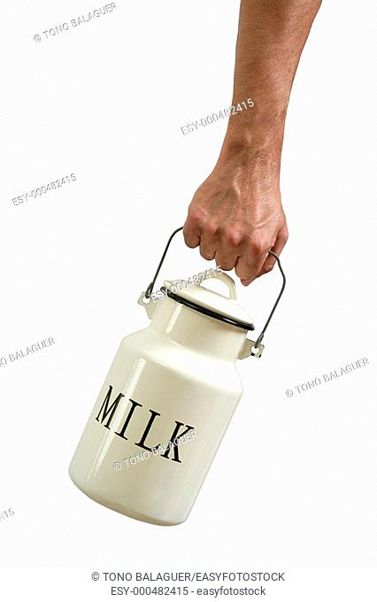 Milk pot urn in farmer hands isolated on white background