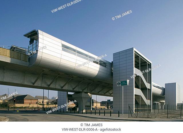 DLR. WEST SILVERTOWN STATION, LONDON, E16 VICTORIA DOCKS + NORTH WOOLWICH, UK, WESTON WILLIAMSHON ARCHITECTS, EXTERIOR, STAIR TOWER & PLATFORM