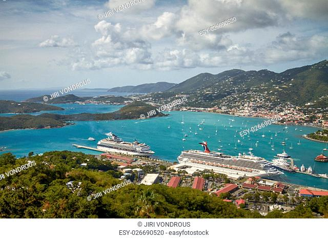 SAINT THOMAS, US VIRGIN ISLANDS - JANUARY 11, 2011: Bay and Port of St. Thomas in US Virgin Islands