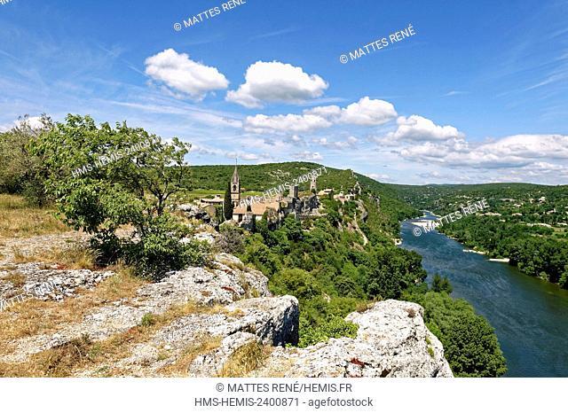 France, Gard, Aigueze, labelled Les Plus Beaux Villages de France (The Most Beautiful Villages of France), Medieval village perched above the Ardeche river