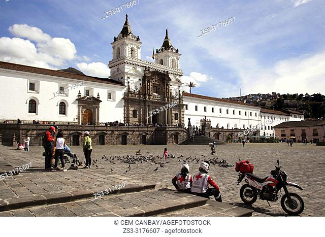 View to the San Francisco Convent and Museum-Convento y Museo de San Francisco at Plaza San Francisco Square at the historic center, Quito, Ecuador