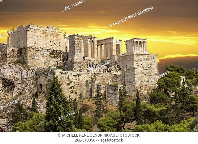 The Propylaea of the Acropolis of Athens with the temple of Athena Nike on the upper right side. Athens, Greece
